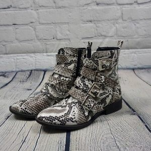 Shoes - Reptile Print Ankle Boots